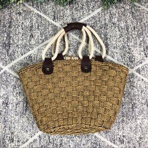 Straw Basket Weave Shoulder Bag Purse